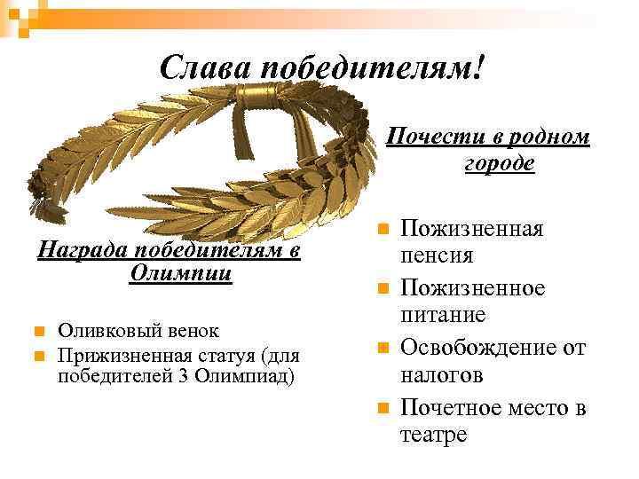 Слава победителям! Почести в родном городе Награда победителям в Олимпии n n Оливковый венок