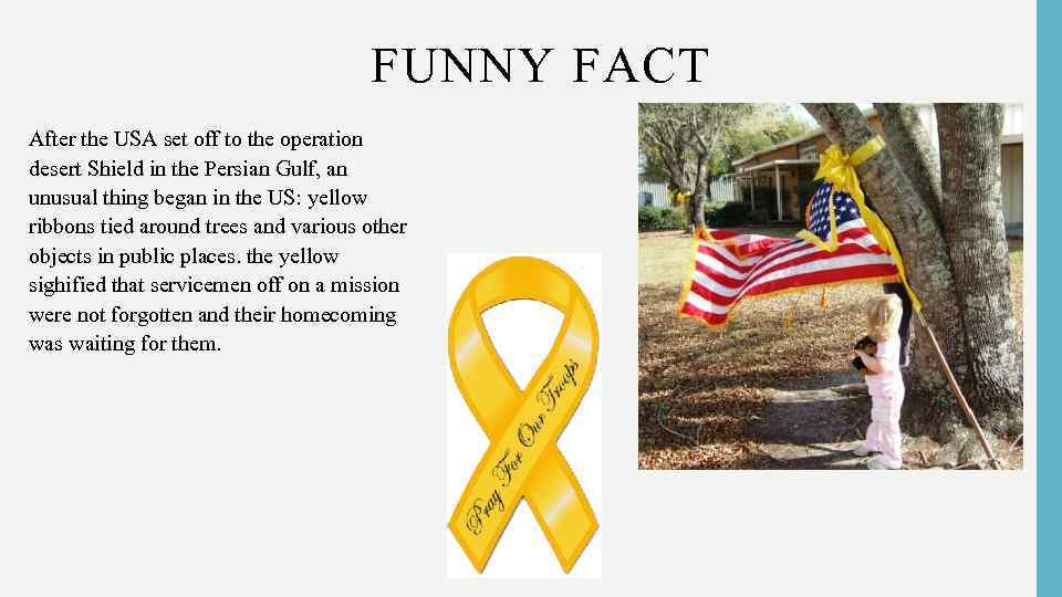 FUNNY FACT • After the USA set off to the operation desert Shield in