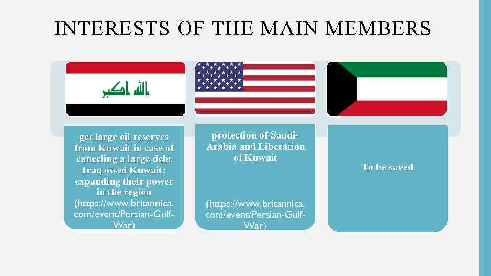 INTERESTS OF THE MAIN MEMBERS get large oil reserves from Kuwait in case of