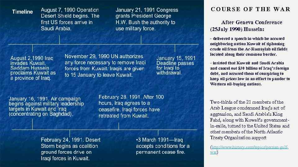 COURSE OF THE WAR After Geneva Conference (25 July 1990) Hussein: - delivered a