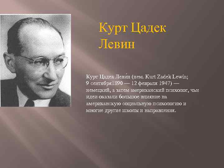 an introduction to the contribution of kurt lewin Kurt lewin, (born september 9, 1890, mogilno, germany [now in poland]—died february 12, 1947, newtonville, massachusetts, us), german-born american social psychologist known for his field theory of behaviour, which holds that human behaviour is a function of an individual's psychological environment.