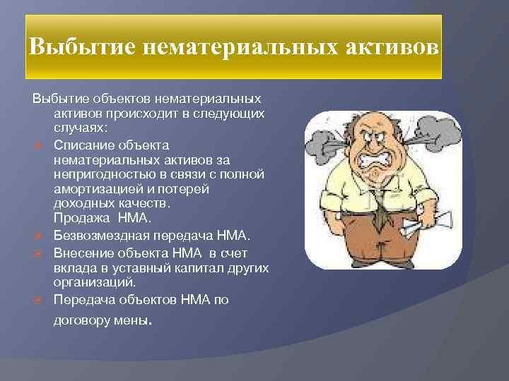 Выбытие нематериальных активов Выбытие объектов нематериальных активов происходит в следующих случаях: Списание объекта нематериальных