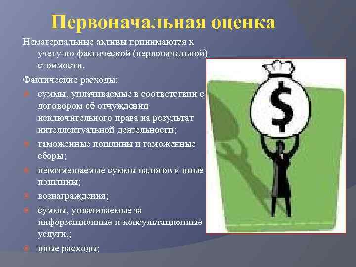 Первоначальная оценка Нематериальные активы принимаются к учету по фактической (первоначальной) стоимости. Фактические расходы: суммы,