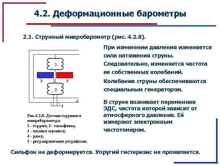 4. 2. Деформационные барометры 2. 1. Струнный микробарометр (рис. 4. 2. 8). При изменении