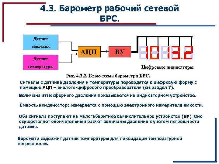 4. 3. Барометр рабочий сетевой БРС. Датчик давления АЦП ВУ Датчик температуры Цифровые индикаторы