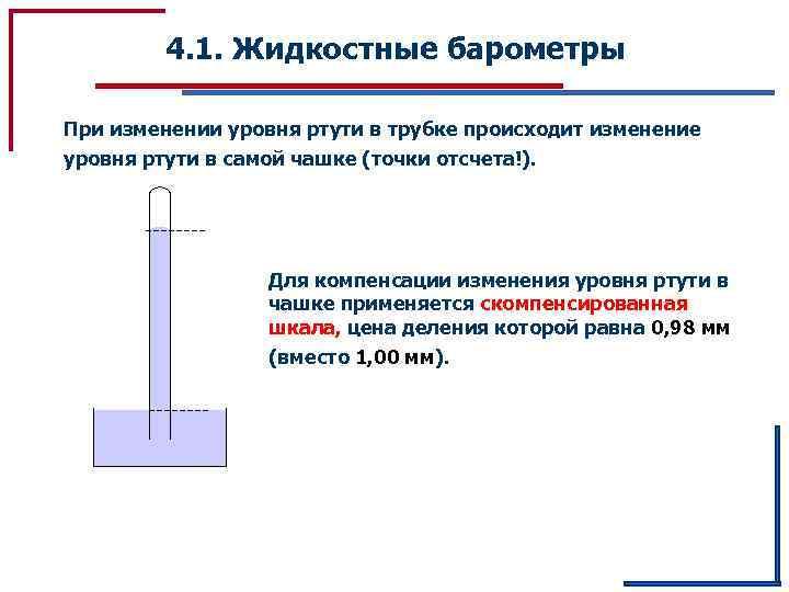 4. 1. Жидкостные барометры При изменении уровня ртути в трубке происходит изменение уровня ртути