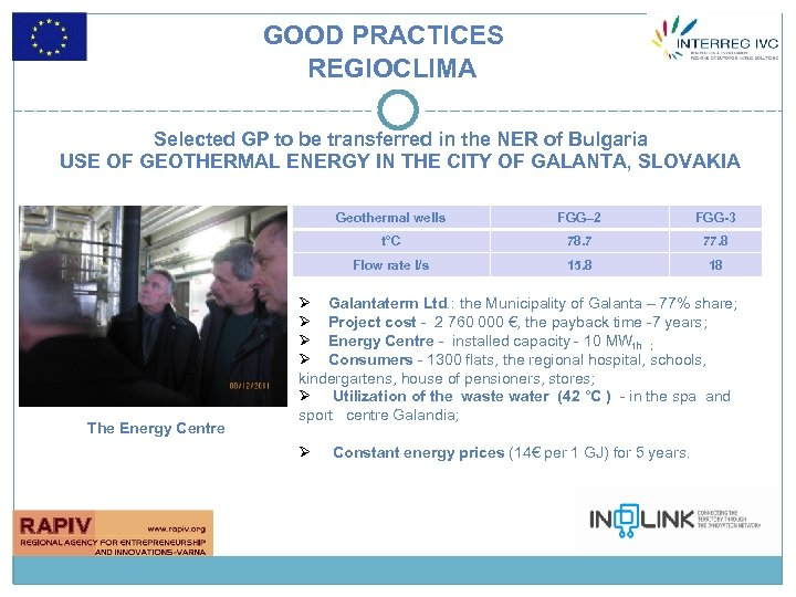 GOOD PRACTICES REGIOCLIMA Selected GP to be transferred in the NER of Bulgaria USE