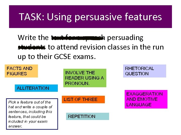 TASK: Using persuasive features Write the text for a speech persuading students to attend