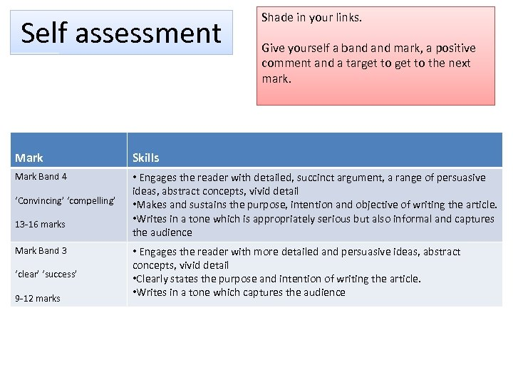 Self assessment Shade in your links. Give yourself a band mark, a positive comment