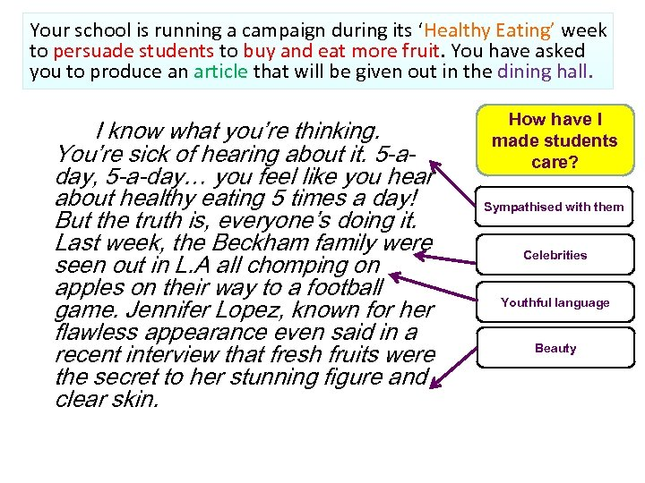 Your school is running a campaign during its 'Healthy Eating' week to persuade students