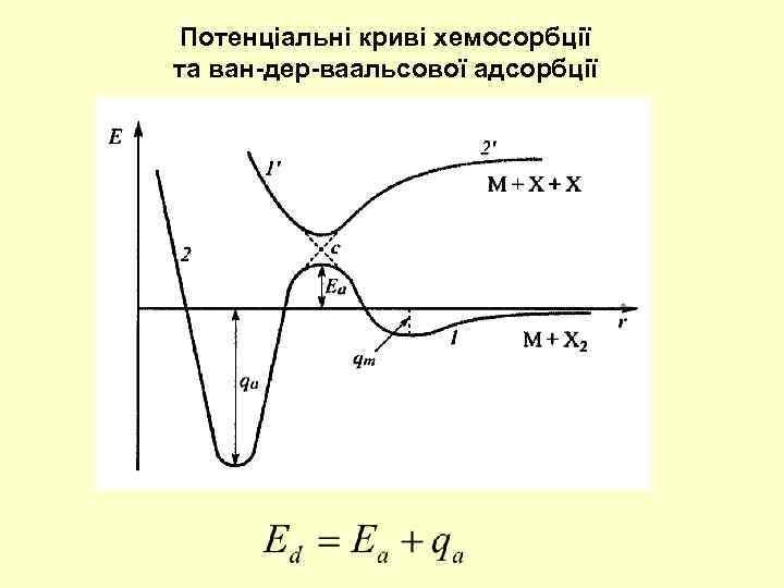 Потенціальні криві хемосорбції та ван-дер-ваальсової адсорбції