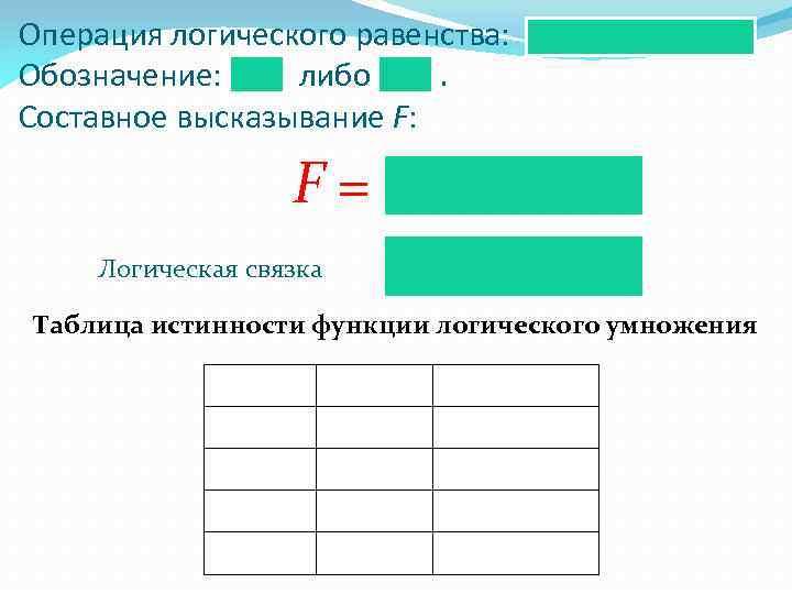 Операция логического равенства: Обозначение: либо. Составное высказывание F: F= Логическая связка Таблица истинности функции