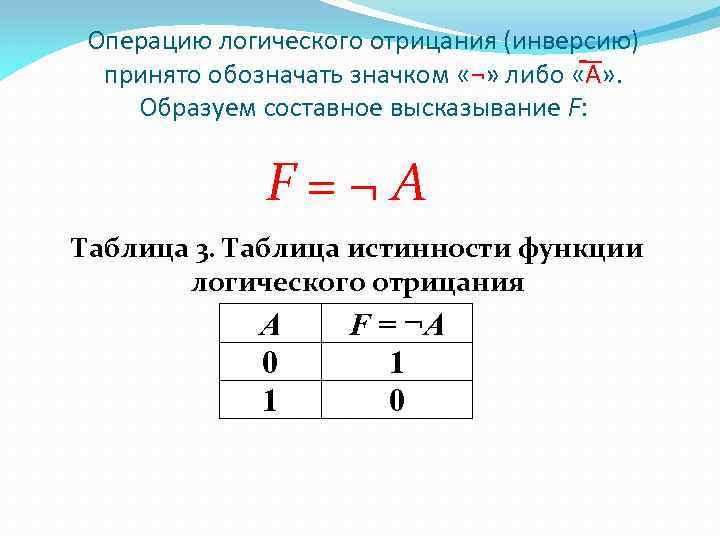 Операцию логического отрицания (инверсию) принято обозначать значком «¬» либо «A» . Образуем составное высказывание