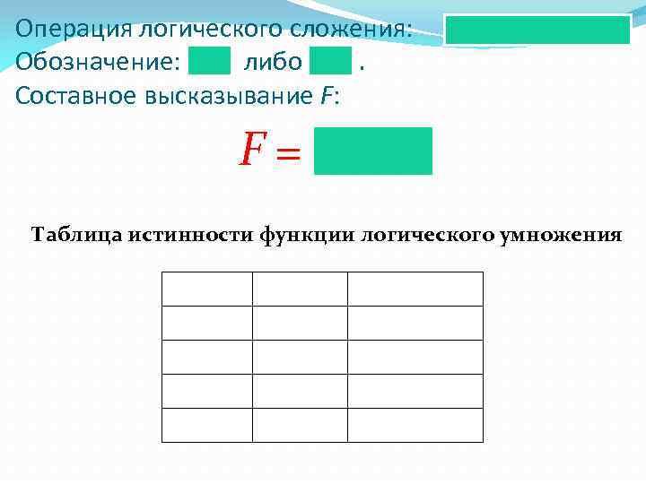 Операция логического сложения: Обозначение: либо. Составное высказывание F: F= Таблица истинности функции логического умножения