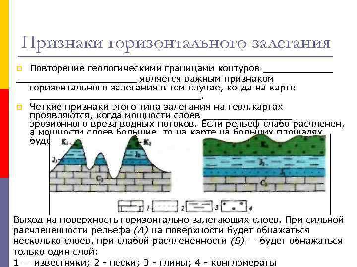 Признаки горизонтального залегания Повторение геологическими границами контуров _______________ является важным признаком горизонтального залегания в