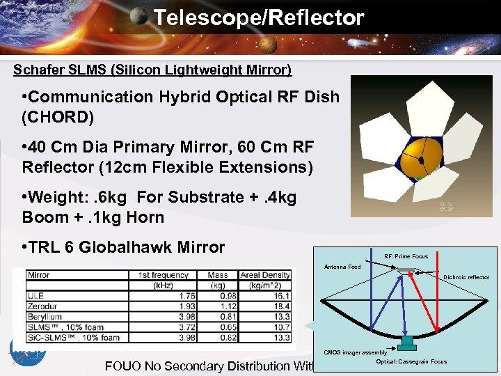 Telescope/Reflector Schafer SLMS (Silicon Lightweight Mirror) • Communication Hybrid Optical RF Dish (CHORD) •