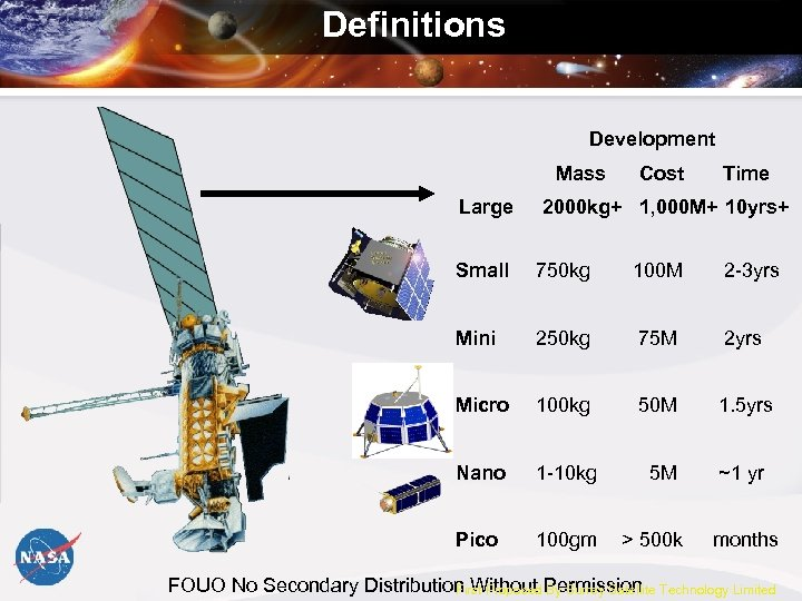 Definitions Development Mass Large Cost Time 2000 kg+ 1, 000 M+ 10 yrs+ Small