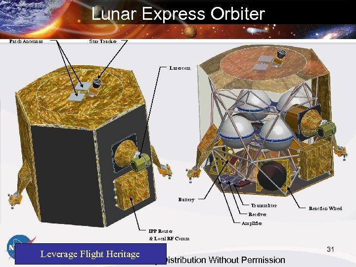 Lunar Express Orbiter Patch Antennas Star Tracker Lasercom Battery Transmitter Reaction Wheel Receiver Amplifier