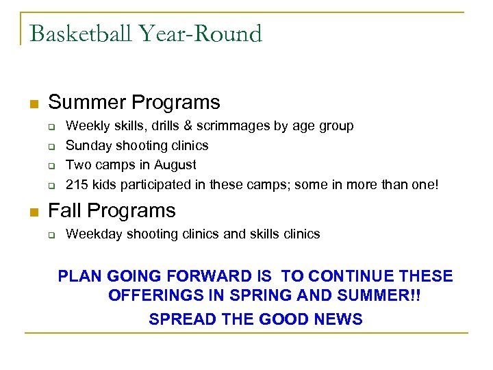 Basketball Year-Round n Summer Programs q q n Weekly skills, drills & scrimmages by