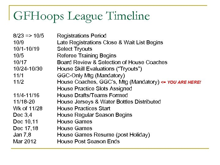 GFHoops League Timeline 8/23 => 10/5 10/9 10/1 -10/19 10/5 10/17 10/24 -10/30 11/1