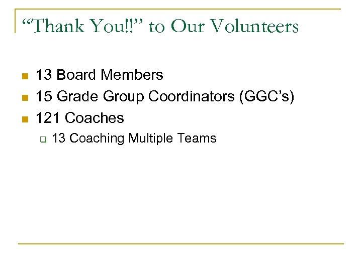 """""""Thank You!!"""" to Our Volunteers n n n 13 Board Members 15 Grade Group"""