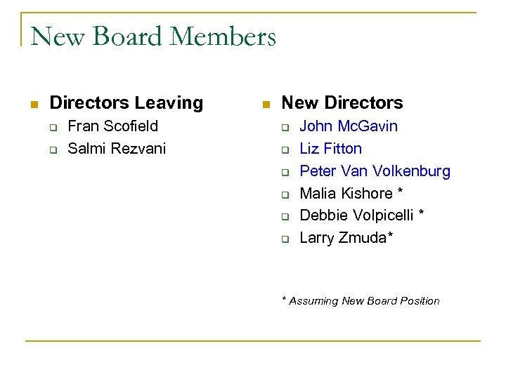 New Board Members n Directors Leaving q q Fran Scofield Salmi Rezvani n New
