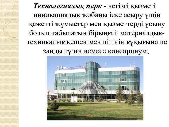 Технологиялық парк - негізгі қызметі инновациялық жобаны іске асыру үшін қажетті жұмыстар мен қызметтерді