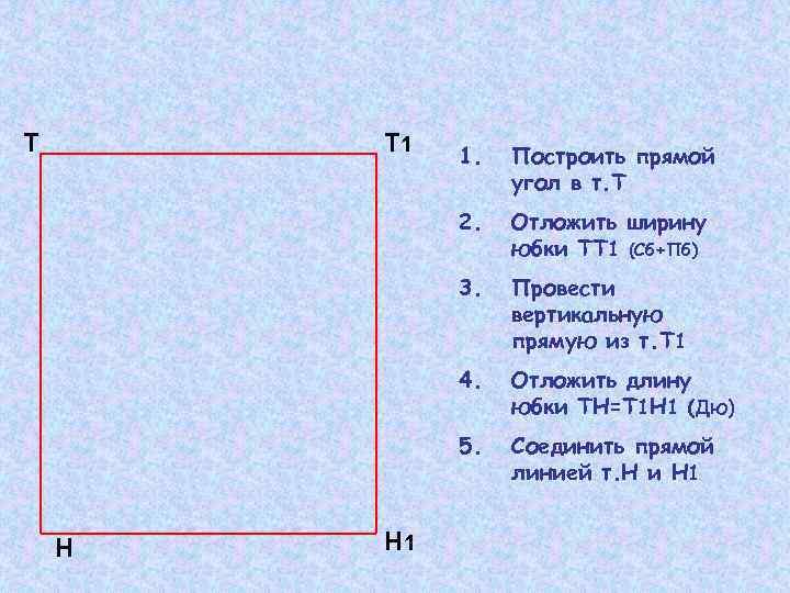 Т Т 1 Отложить ширину юбки ТТ 1 (Сб+Пб) 3. Провести вертикальную прямую из