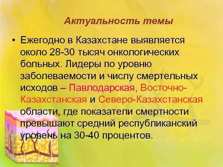 Актуальность темы • Ежегодно в Казахстане выявляется около 28 -30 тысяч онкологических больных. Лидеры