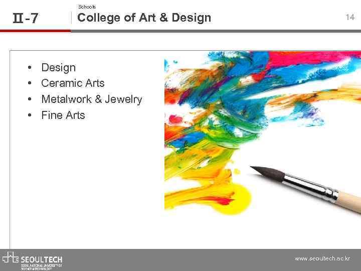 Ⅱ-7 • • Schools College of Art & Design 14 Design Ceramic Arts Metalwork
