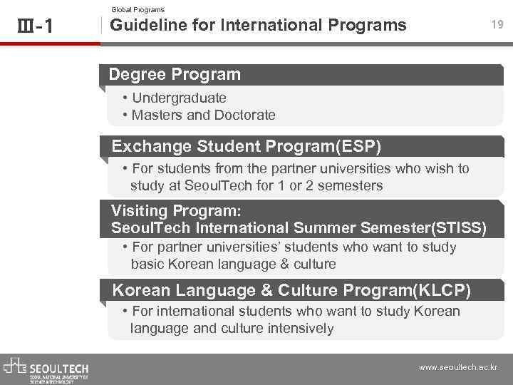 Ⅲ-1 Global Programs Guideline for International Programs 19 Degree Program • Undergraduate • Masters