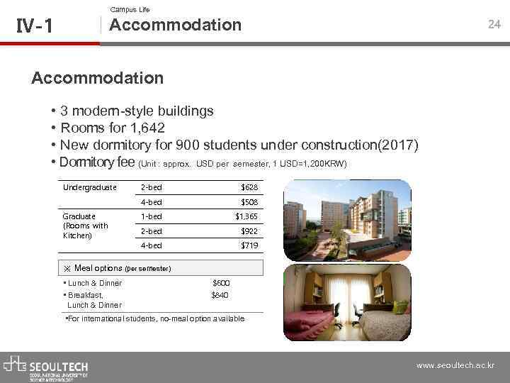 Campus Life Ⅳ-1 Accommodation 24 Accommodation • 3 modern-style buildings • Rooms for 1,