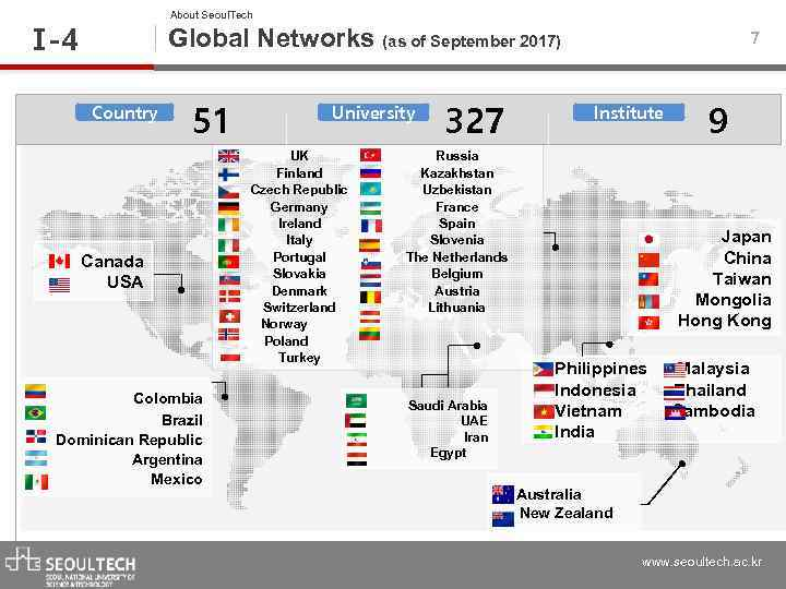 About Seoul. Tech Ⅰ -4 Global Networks (as of September 2017) Country 51 Canada