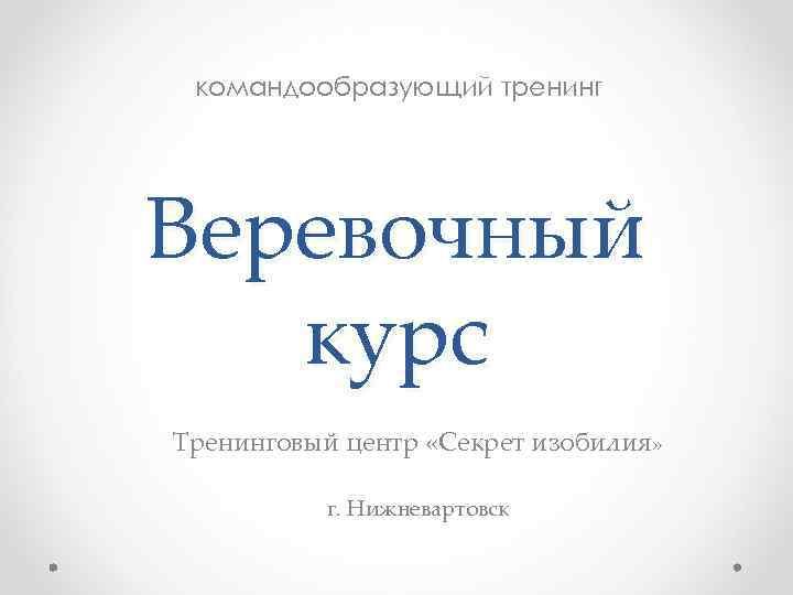 командообразующий тренинг Веревочный курс Тренинговый центр «Секрет изобилия» г. Нижневартовск