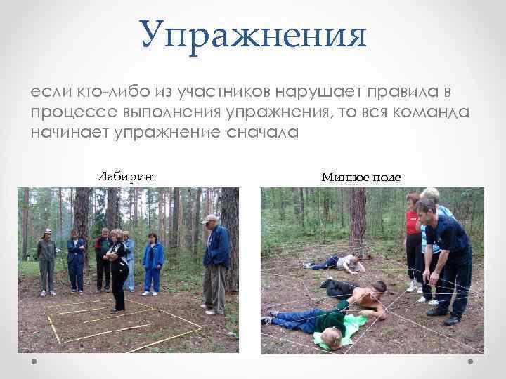 Упражнения если кто-либо из участников нарушает правила в процессе выполнения упражнения, то вся команда