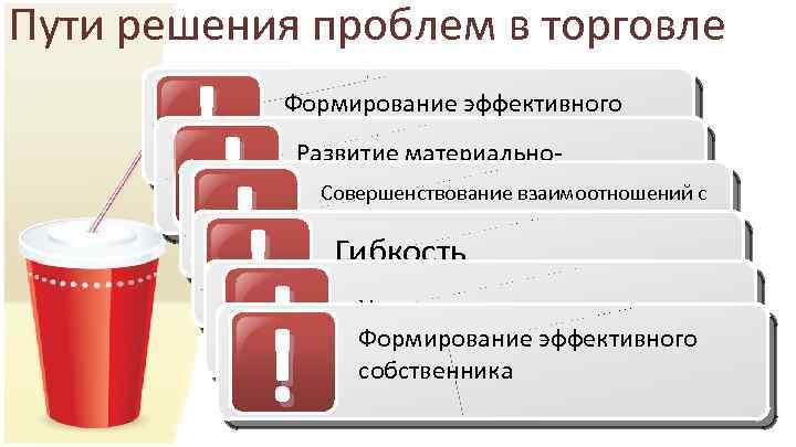 Пути решения проблем в торговле ! Формирование эффективного собственника Развитие материальнотехнической базы торговли Совершенствование