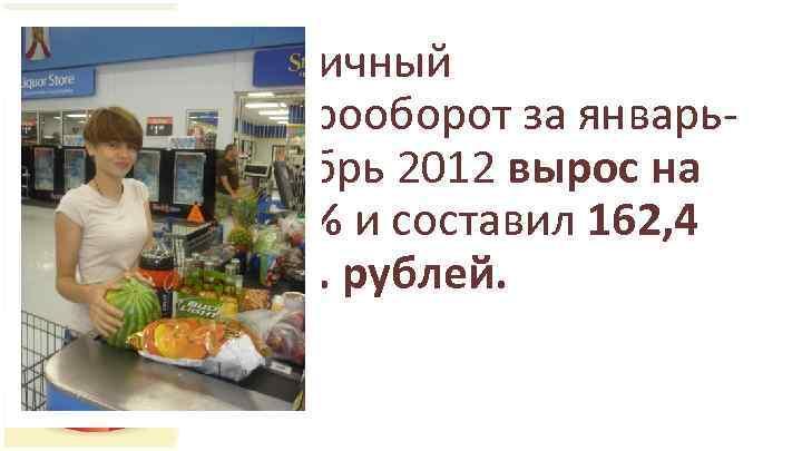 • Розничный товарооборот за январьоктябрь 2012 вырос на 12, 3% и составил 162,