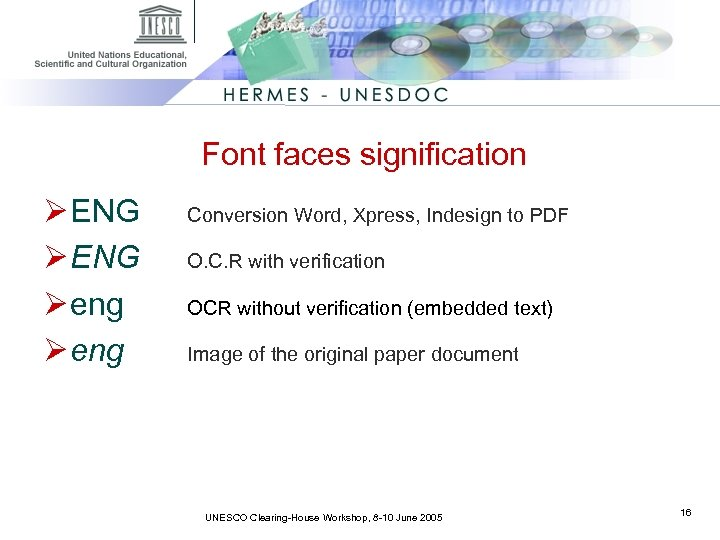 Font faces signification Ø ENG Ø eng Conversion Word, Xpress, Indesign to PDF O.