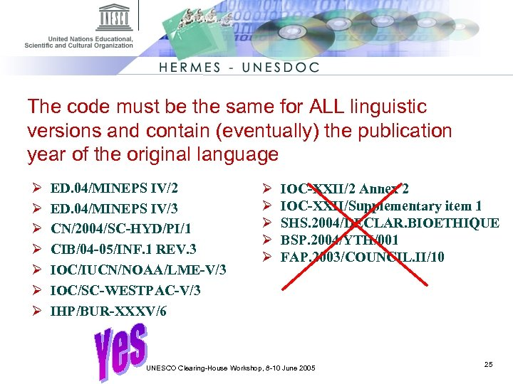 The code must be the same for ALL linguistic versions and contain (eventually) the