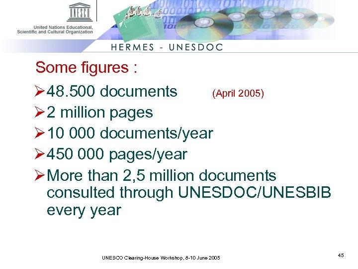 Some figures : Ø 48. 500 documents (April 2005) Ø 2 million pages Ø