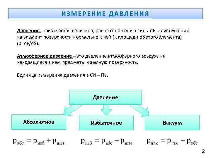 ИЗМЕРЕНИЕ ДАВЛЕНИЯ Давление – физическая величина, равна отношению силы d. F, действующий на элемент