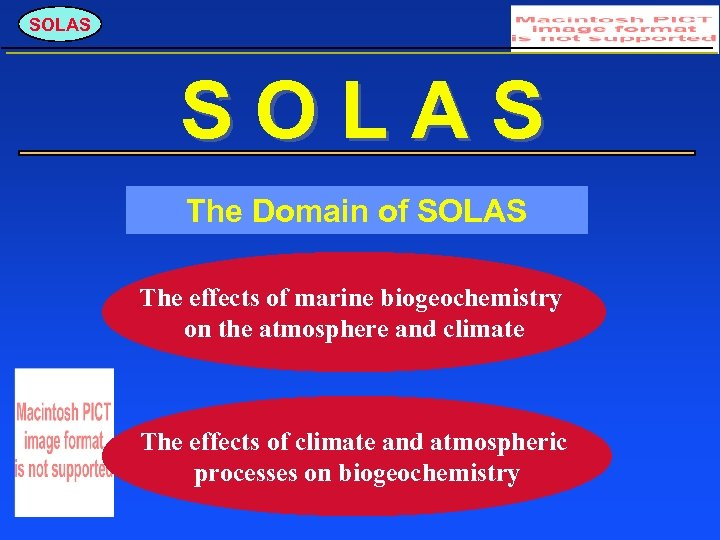SOLAS The Domain of SOLAS The effects of marine biogeochemistry on the atmosphere and