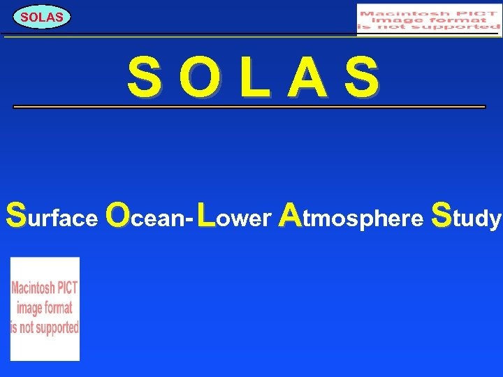 SOLAS Surface Ocean- Lower Atmosphere Study