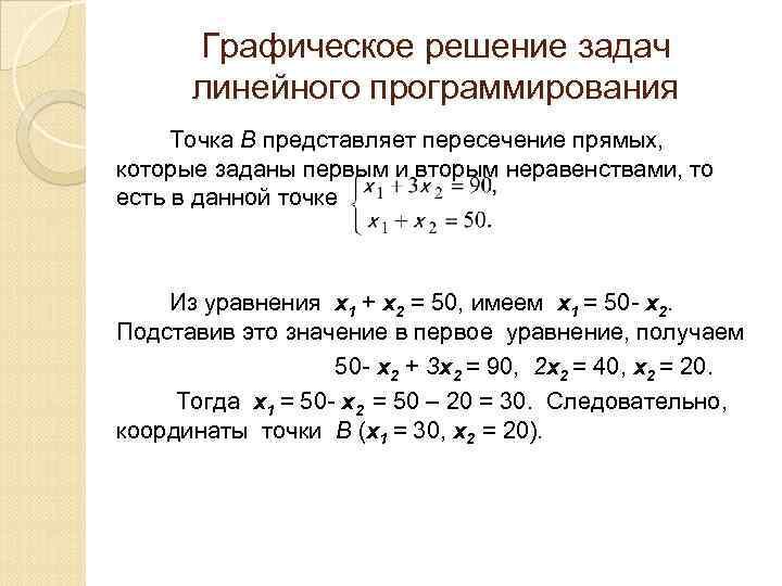 Графическое решение задач линейного программирования Точка В представляет пересечение прямых, которые заданы первым и