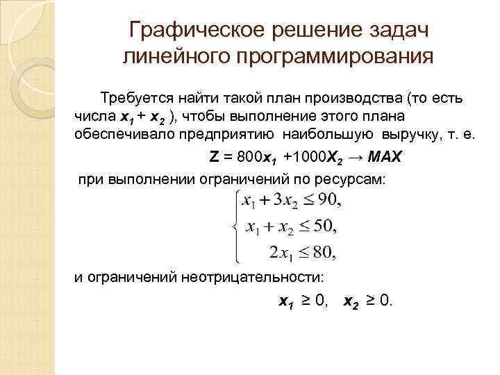 Графическое решение задач линейного программирования Требуется найти такой план производства (то есть числа х1