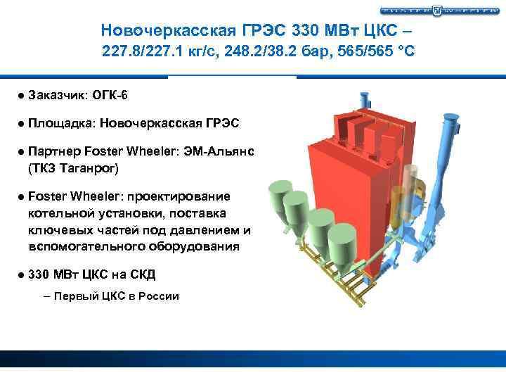 Новочеркасская ГРЭС 330 МВт ЦКС – 227. 8/227. 1 кг/с, 248. 2/38. 2 бар,