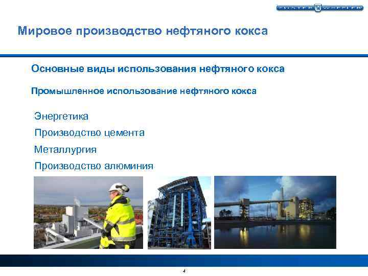 Мировое производство нефтяного кокса Основные виды использования нефтяного кокса Промышленное использование нефтяного кокса Энергетика