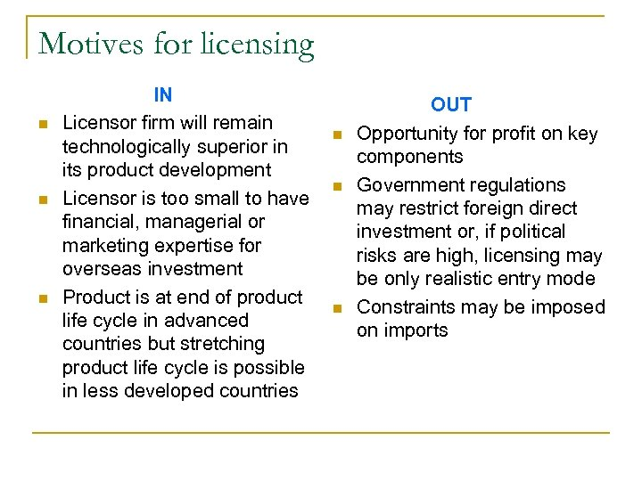 Motives for licensing n n n IN Licensor firm will remain technologically superior in