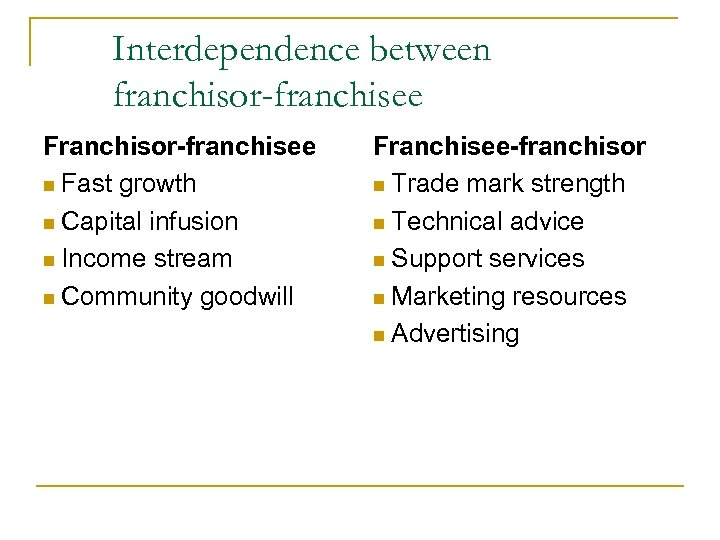 Interdependence between franchisor-franchisee Franchisor-franchisee n Fast growth n Capital infusion n Income stream n