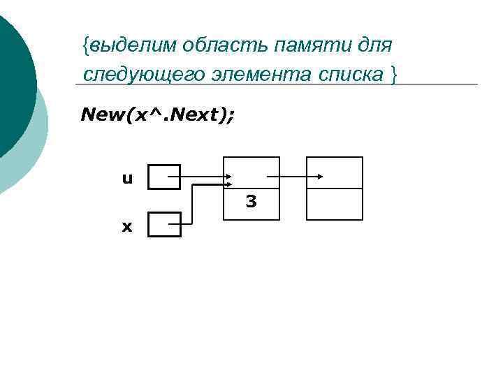 {выделим область памяти для следующего элемента cписка } New(x^. Next); u 3 x
